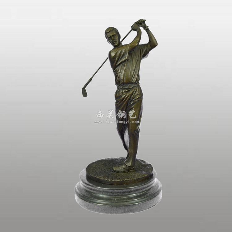 铜雕工艺品 铸铜高尔夫奖杯定做